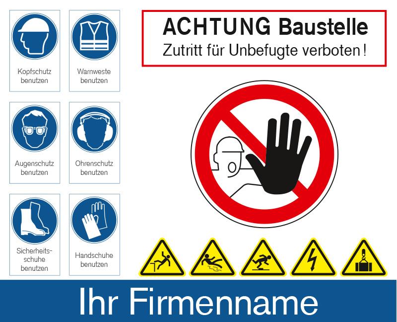 Baustellen Sicherheitbanner mit Hinweisen